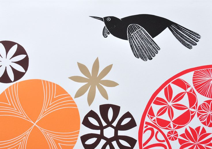 Annie Smits Sandano - Cinnamon Flower - woodcut print on paper