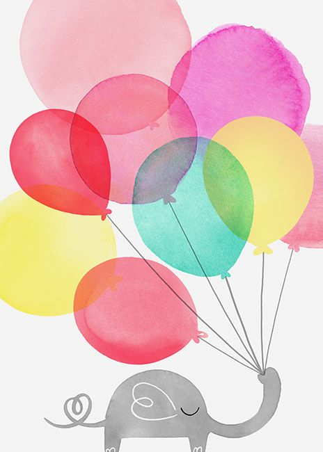 Margaret Berg Art: Baby Elephant Balloons