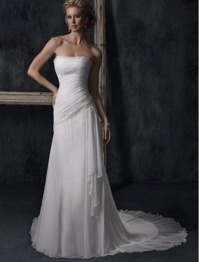 Pleated Chiffon Sheath With Draping [WG1233] - $202.00 : LuxeBlue Quality Discount Wedding Dresses & Formal Gowns, Worlds leading supplier of affordable fashion for Wedding dresses, Bridal gowns and discount formal wear. Safe & Fast delivery world wide.: Dresses Wedding, Wedding Dressses, White Wedding Dresses, Chiffon Wedding Dresses, Strapless Wedding Dresses, Weddings, Gowns, Chapel Training, Chiffon Sheath