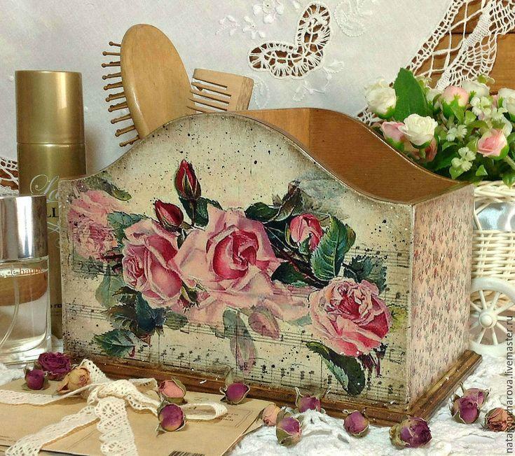 """Купить подставка-короб """"Мелодия роз"""" - розовый, Декупаж, декупаж работы, подарок, для украшений, для бижутерии"""