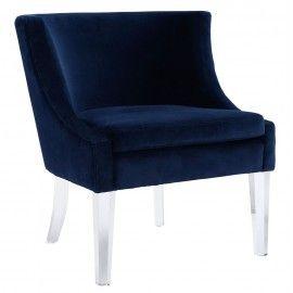 Navy Blue Velvet Accent Chair Acrylic Legs