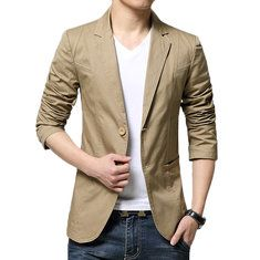 Plus Size Business Casual Slim Fit Solid Color Fashion Blazers for Men - NewChic Mobile
