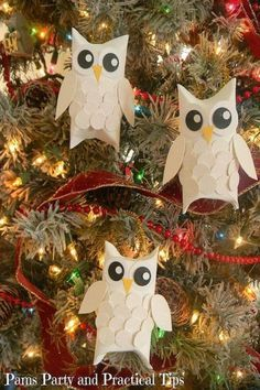 Make sparkling snow owls from pinched toilet paper rolls and craft paper. Just don't forget those too-freaking-cute feathers.  Get the tutorial here.