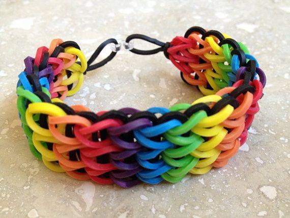 Pulsera de goma del arco iris seis colores negro por picopicogirl