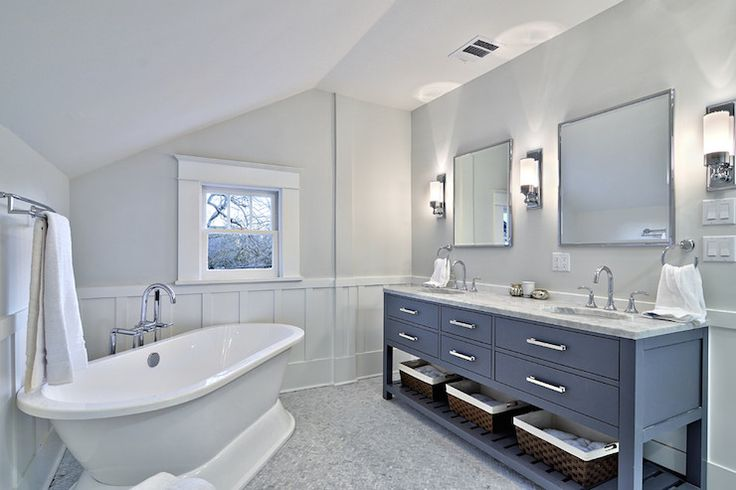 Avenue B - bathrooms - Benjamin Moore - Horizon - Hutton Double Washstand, Keller Sconce, sloped ceiling, angled ceiling, sloped bathroom ce...