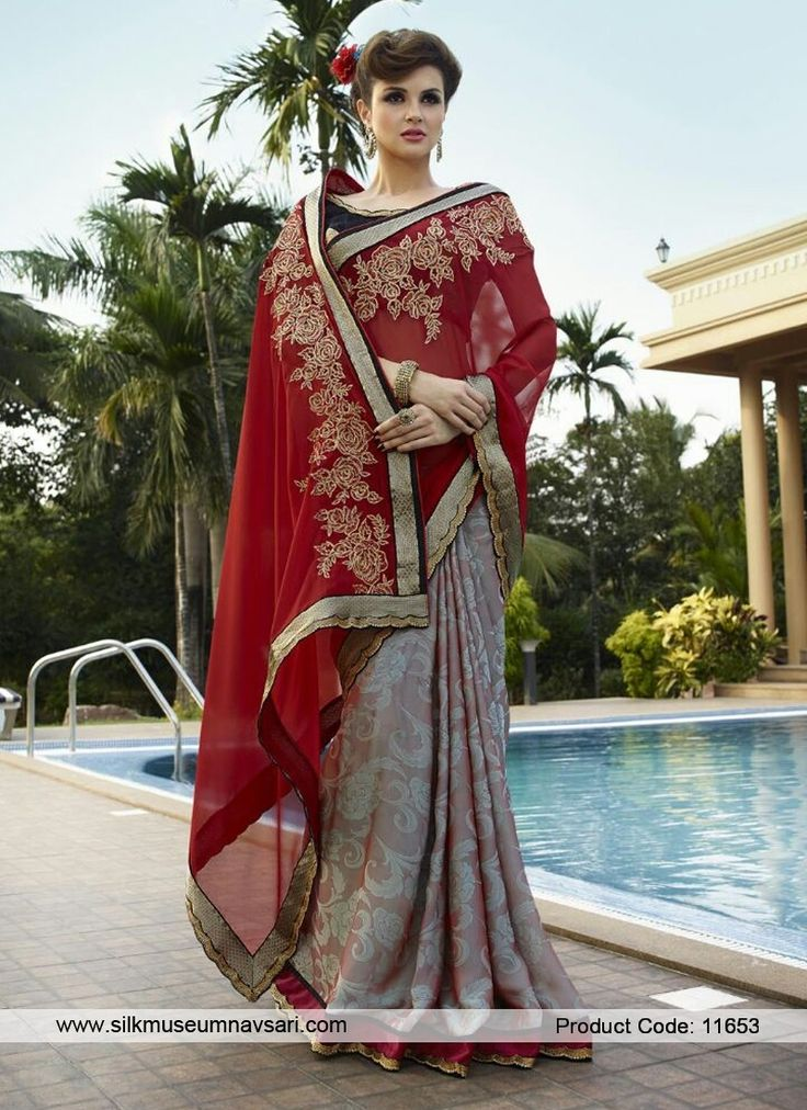 Lovable Black, Grey And Red Embroidered Work Designer Saree