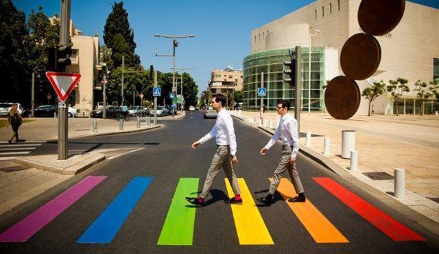 The temporary rainbow crosswalk in Tel Aviv.