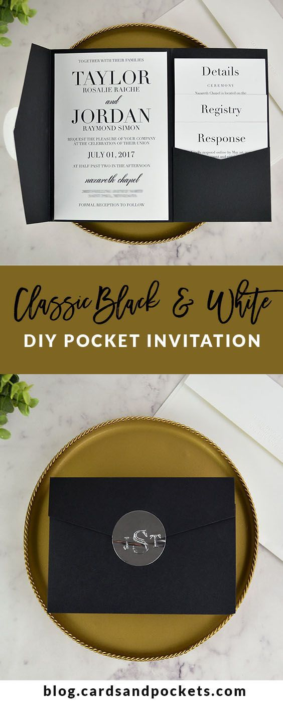 wedding card manufacturers in tamilnadu%0A DIY your own classic black and white pocket wedding invitation  Learn how  at http