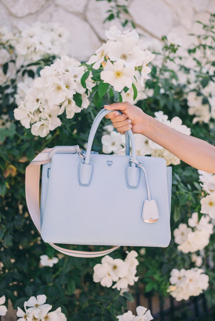 Gal Meets Glam Healdsburg - My new MCM bag in Sky Blue, c/o