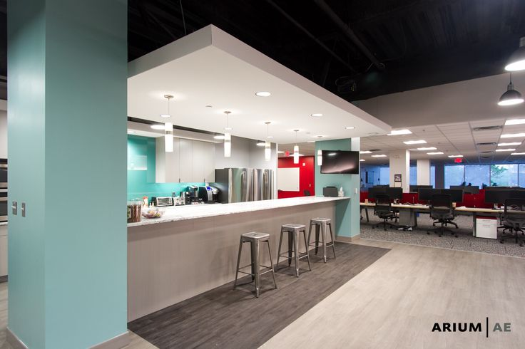 Break Area In An Office Space Floating Ceiling Painted