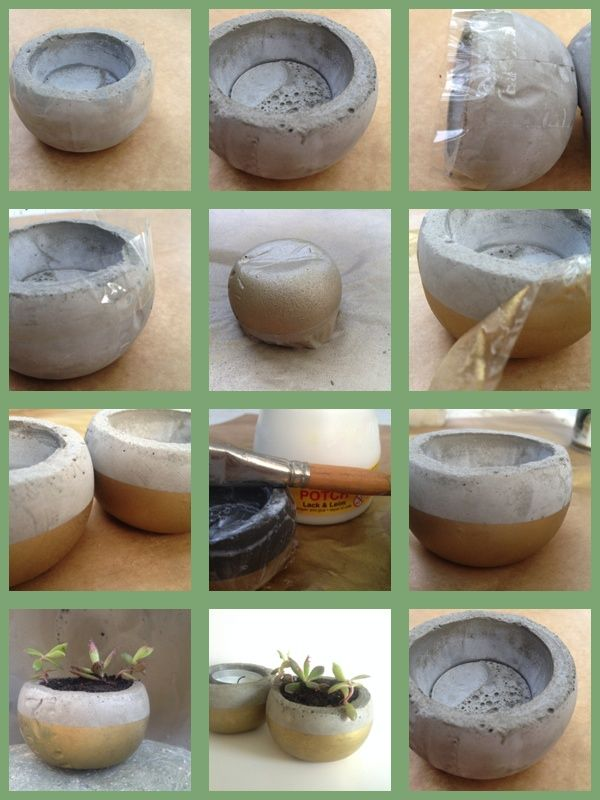 concrete candle holder or flower pot - with golden part