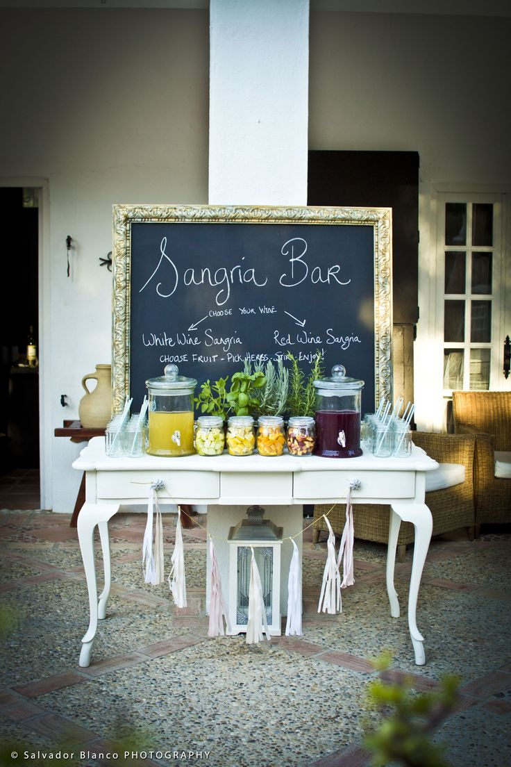 Sangria bar for wedding in Spain by Rachel Rose Weddings - www.weddingvenuesinspain.com