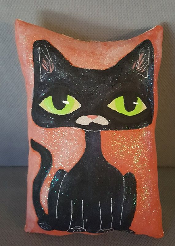 Folk Art Painting Halloween Black Cat Folk ArtCat by ArtfulZeal