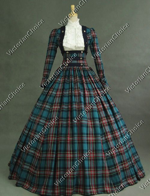 Victorian Civil War 3-pc Classic Tartan Period Dress Ball Gown Reenactment Theatre Clothing
