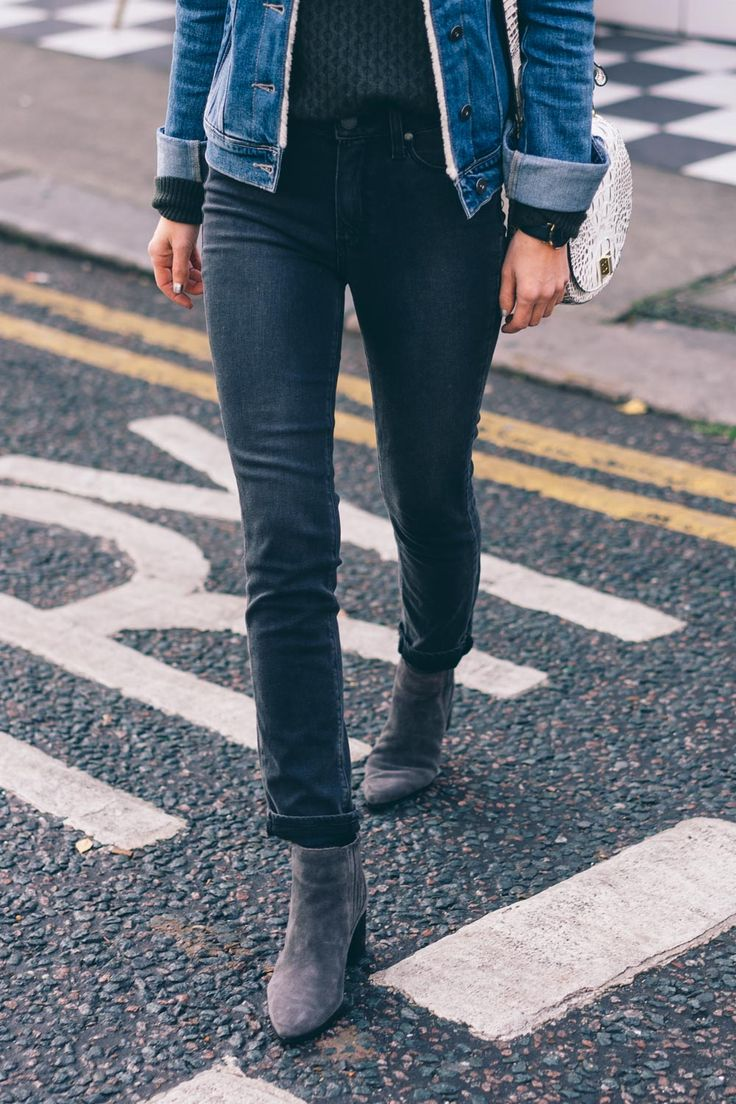 Jess Kirby wearing the Paige hoxton crop roll up jean and gray suede booties