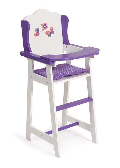 Een houten #Poppenstoel Papilio Purple van het merk Chic 2000. Voorzien van een vlinderthema. Geschikt voor poppen van max. 50 cm afm: 30 x 26 x H 59 cm