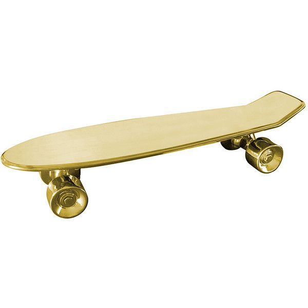 Seletti Skateboard Porcelain Tray - Gold (820 BRL) ❤ liked on Polyvore featuring skateboards, filler, skate, accessories, home and metallic