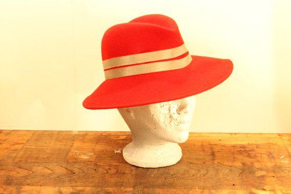 Wide Brim Hat  Wool Hat Red Hat Head Covering by ClockworkRummage