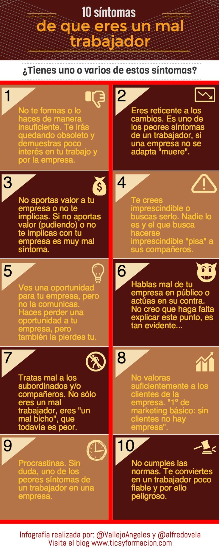 10 síntomas de que eres un mal trabajador