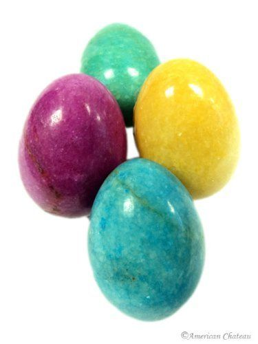 Set of 4 Heavy Stone Easter Eggs - Assorted Colors by American Chateau. $15.99. Easter or year round Decor. Bright Colors: pink, yellow, blue, green. Polished Finish. Marble Stone Eggs. This set of 4 marble stone eggs is a great addition to any collection! Each egg is wrought from stone and polished so it glistens! These brightly colored eggs have a smooth finish in one of four colors: pink, blue, green and yellow. Great as Easter decorations, or for everyday decoration...