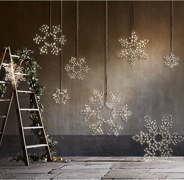 RH's Starry Light Hexagon Snowflake:Make a sparkling statement inside or out with our festive snowflakes dotted with starry warm-white lights. Includes an on/off switch and built-in 24-hour timer.