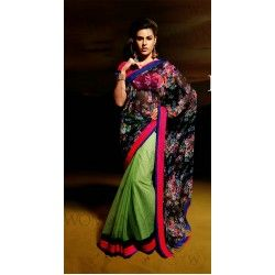 Design And Style And Trend Will Be On The Peak Of Your Beauty After You Dresses This Black & Honeydew Faux Georgette Saree. http://sarijewels.com/sarees/printed-sarees/printed-designer-black-and-honeydew-embroidered-saree-sjsdfs34686.html