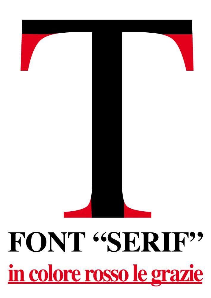 """La sostanziale differenza fra i font della famiglia """"Serif"""" (con grazie) e """"San Serif"""" (senza le grazie, immagine in nero) Approfondimento su caratteri e font su: www.tipografialeone.net/font-caratteri-tipografia-grafica-tipi-misure-caratteristiche.html"""