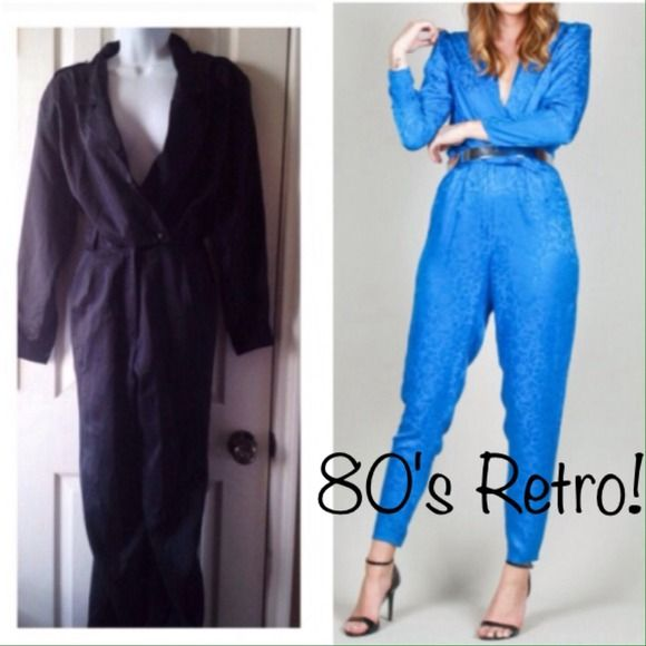 Vintage 80s black jumpsuit Retro 80s black jumpsuit.  Missing belt, has a small pull on right pant leg shown in pic. Vintage Pants Jumpsuits & Rompers