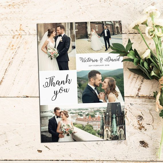 Photo Collage Wedding Thank You Card With Photo Personalize Photo Thank You Cards Wedding Thank You Cards Thanks Card Wedding