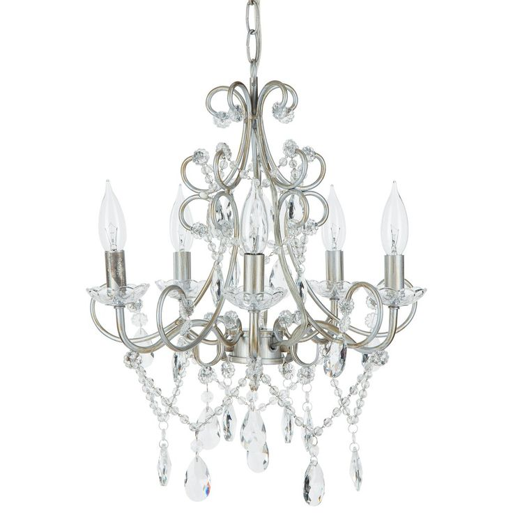5 Light Classic Crystal Plug In Chandelier Silver
