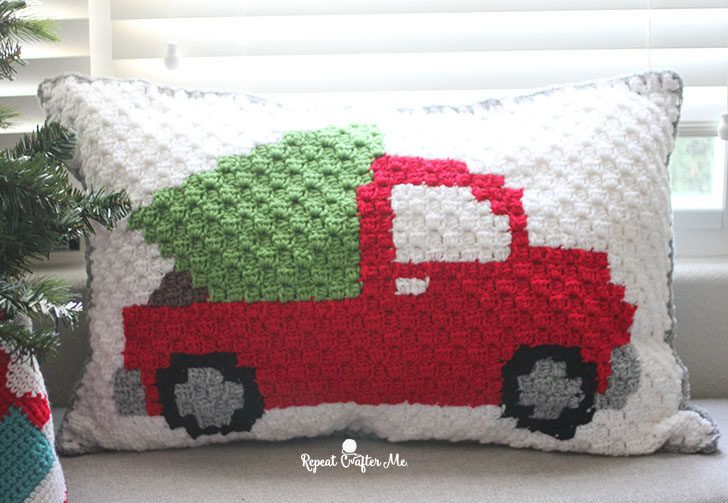 Crochet C2c Pickup Truck Tree Pillow Repeat Crafter Me Crochet Pillow Pattern Crochet Christmas Trees Pattern C2c Crochet Pattern Free