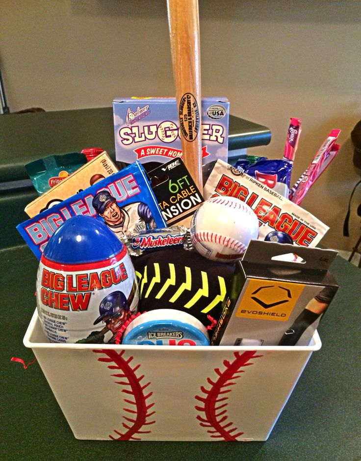 Baseball themed gift basket