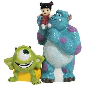 """Westland Giftware Monsters Inc Gang Magnetic Ceramic Salt and Pepper Shaker Set, 4-Inch by Westland Giftware. $15.00. Not dishwasher or microwave safe. High quality ceramic design. Licensed Disney Pixar designs and images. A great collector's gift. Functional and decorative item. Westland Giftware's Monsters Inc Gang Magnetic Salt & Pepper Shaker Set is 4"""" tall and features Sulley holding Boo standing alongside Mike from Disney Pixar's Monsters, Inc. movie. Each piece..."""