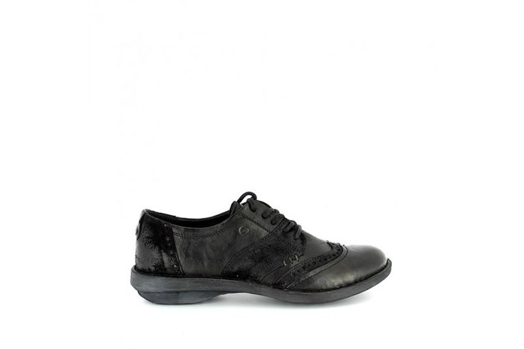 Sugar 3316 Black Rodeo - Black Velour  - Laced up shoes in real leather vintage look with inserts in suede. Rubber sole, heel 2,5 cm high and removable leather insole.