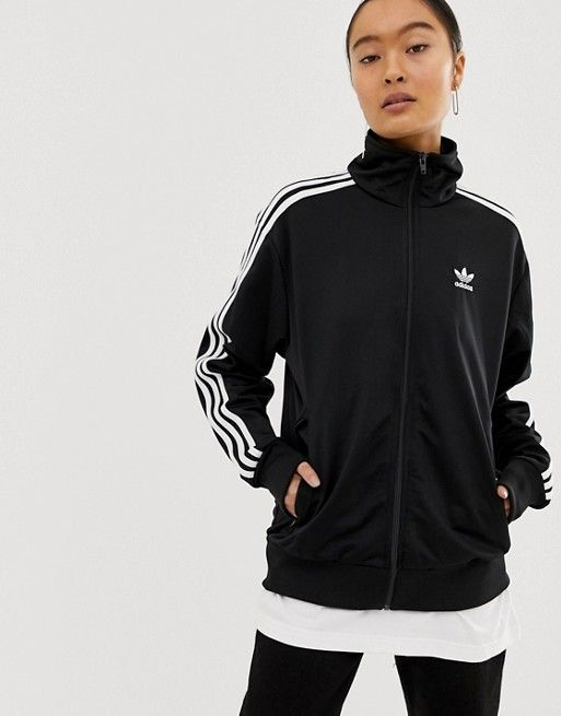 3e660d88 adidas Originals three stripe Firebird track jacket in black in 2019 ...