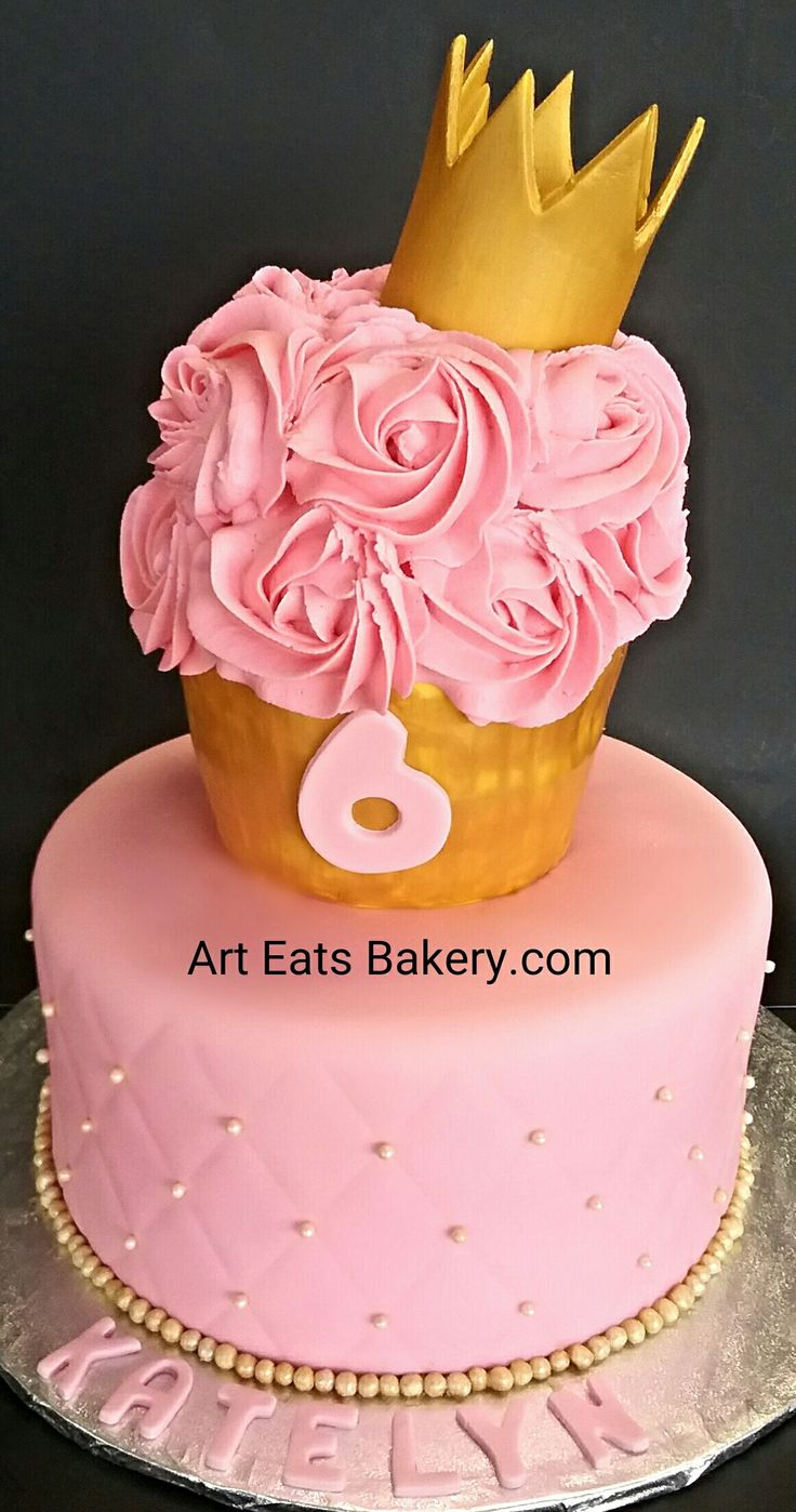In law in addition free pink birthday cake in addition bake shop party - Girl S 2 Tier Pink And Gold Fondant And Buttercream Rosettes Unique Creative Princess 6th Birthday Cake