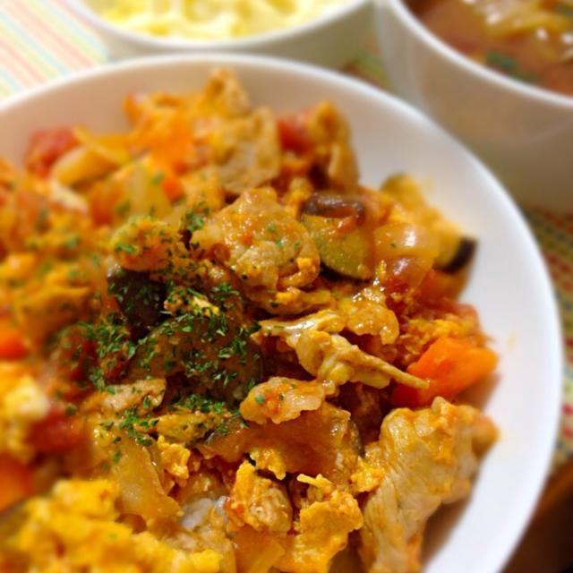 豚肉と野菜をホールトマトで煮込んで卵とじにしてみました。 - 10件のもぐもぐ - ホールトマトで卵とじ by masaemon0316