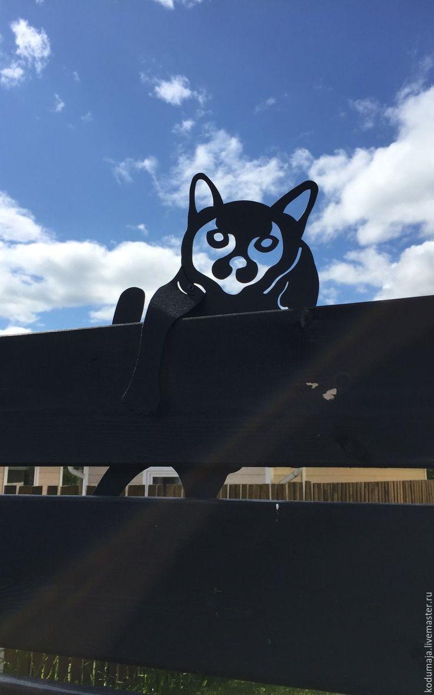 """Купить Декор """"Котик"""" - черный, кот, Декор, металл, забор, загородный дом, дача, экстерьер"""