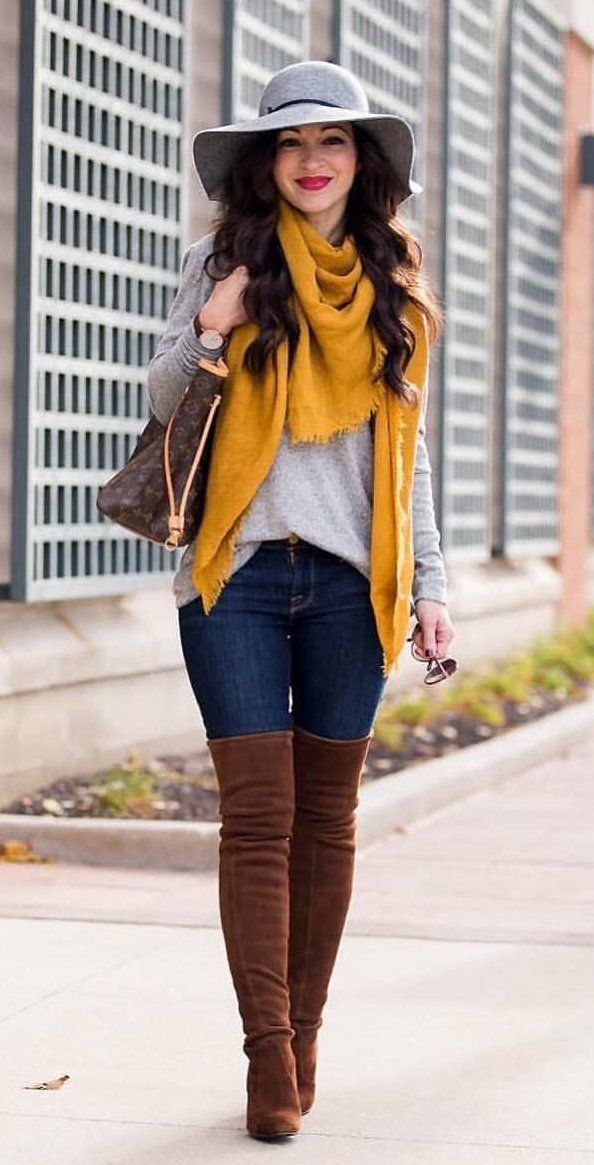 Outfits Mode für Frauen 2019 – #fall #outfits women's brown scarf. Click To Shop This Look