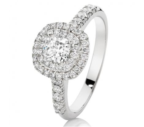 This Limited Edition Canadian Fire Diamond Engagement Ring features 18ct White Gold, 0.50ct Cushion Cut Canadian Fire diamond