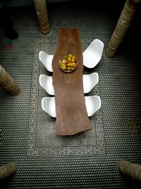 Good looking wood table and floor.