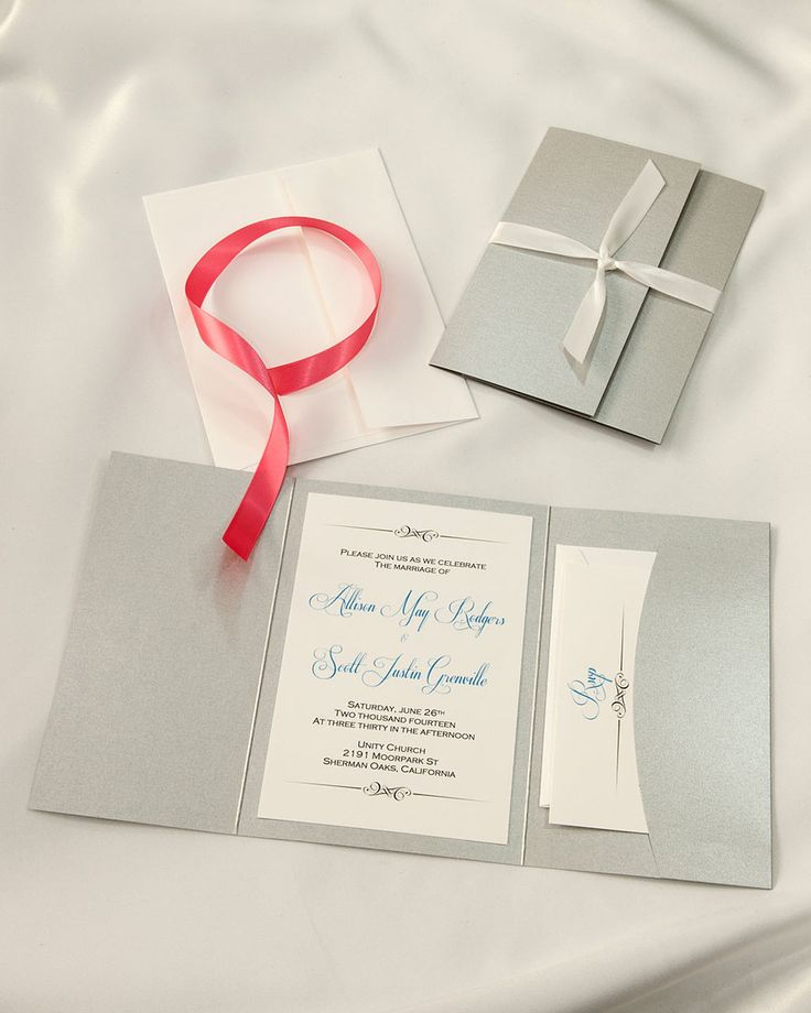 what to include in diy wedding invitations%0A Another type of pocket folder can be just what you need  OUr Deep Silver  Side  Diy Wedding Invitation