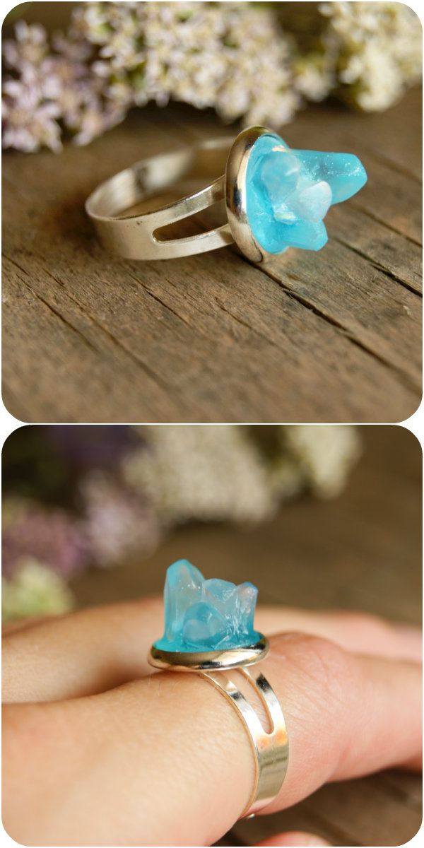 Boho Blue resin ring Raw crystal ring Druzy ring Resin rings Blue Resin rings Minimalist ring Boho ring for woman Boho gift Blue boho ring