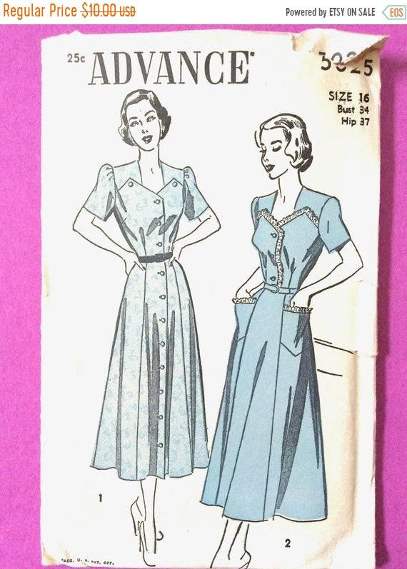 Sale 20 Off 1950s Advance 5025 Vintage Sewing Dress Pattern