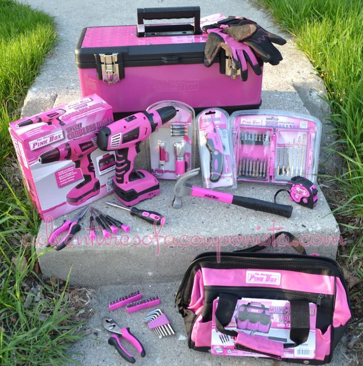 pink tool box. i need all these pink tools! also available at sears. tool box