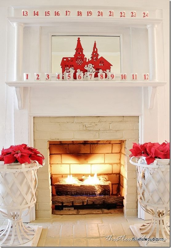 Love this farmhouse tour!  The neutral decorating with pops of red is perfect!  thistlewoodfarms.com