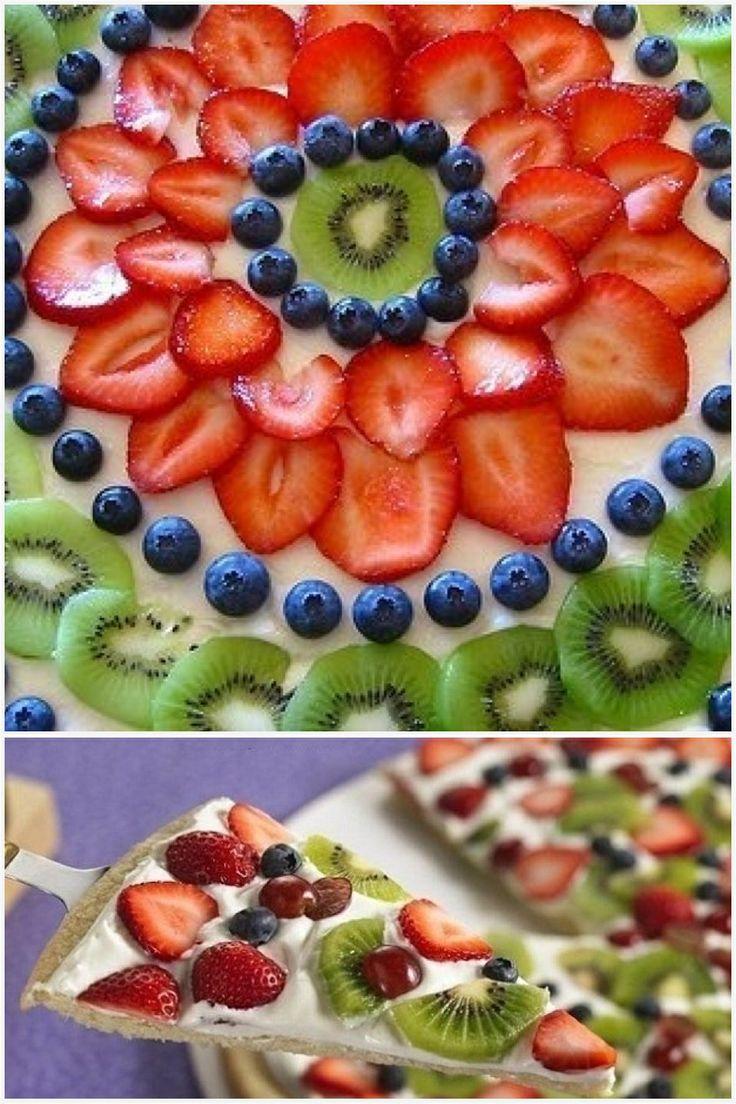 Фруктовая пицца  Ингредиенты:   Для теста : мука – 250 г сухие дрожжи – 1 ч.ложка (свежих дрожжей – 20 г) теплое молоко – 60 мл вода – 65 мл соль – 1 ч. ложка оливковое масло – 4 ст.ложки  Для начинки: сливки или сметана ваниль фрукты и ягоды  Для украшения: сахарная пудра мята или орегано  Приготовление: 1. Смешайте соль с мукой и просейте через сито. После в горке муки сделайте углубление, куда добавьте предварительно растворенные в молоке (воде) дрожжи, и слегка присыпьте мукой. Накройте…