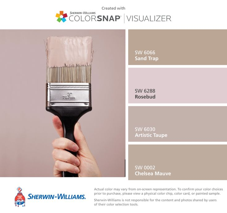 I found these colors with ColorSnap® Visualizer for iPhone by Sherwin-Williams: Sand Trap (SW 6066), Rosebud (SW 6288), Artistic Taupe (SW 6030), Chelsea Mauve (SW 0002).