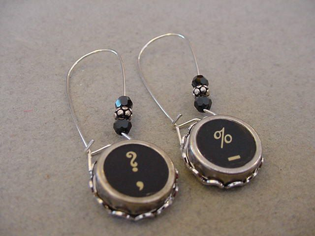 Typewriter Key Jewelry Earrings  QUESTION Mark PERCENT Sign  Swarovski Crystal Typewriter Key Earrings by magiccloset on Etsy