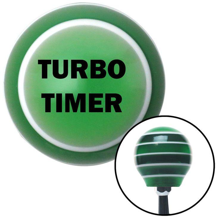 Black TURBO TIMER Green Stripe Shift Knob with M16 x 15 Insert